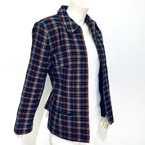 SAG HARBOR | Zip Up Petite Metallic Blazer 14P